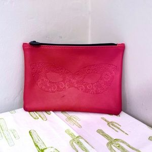 Ipsy Red Makeup Bag with Embossed Mask Decor